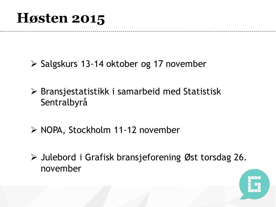 Høsten 2015  Salgskurs 13-14 oktober og 17 november  Bransjestatistikk i samarbeid med Statistisk Sentralbyrå  NOPA, Stockholm 11-12 november  Julebord i Grafisk bransjeforening Øst torsdag 26.