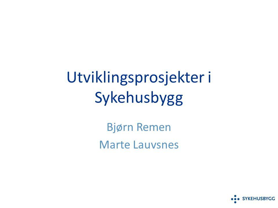 Utviklingsprosjekter i Sykehusbygg Bjørn Remen Marte Lauvsnes