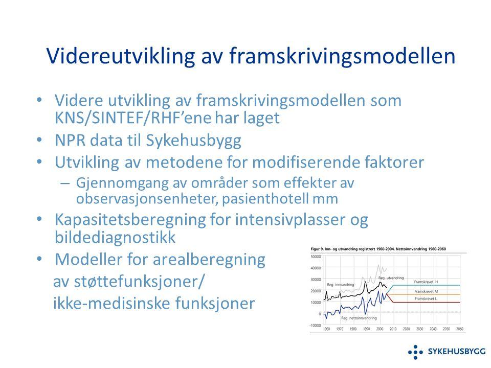 Videreutvikling av framskrivingsmodellen Videre utvikling av framskrivingsmodellen som KNS/SINTEF/RHF'ene har laget NPR data til Sykehusbygg Utvikling av metodene for modifiserende faktorer – Gjennomgang av områder som effekter av observasjonsenheter, pasienthotell mm Kapasitetsberegning for intensivplasser og bildediagnostikk Modeller for arealberegning av støttefunksjoner/ ikke-medisinske funksjoner