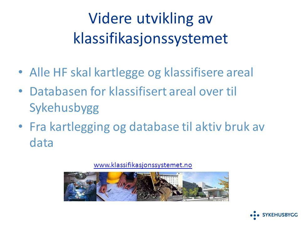 Videre utvikling av klassifikasjonssystemet Alle HF skal kartlegge og klassifisere areal Databasen for klassifisert areal over til Sykehusbygg Fra kartlegging og database til aktiv bruk av data www.klassifikasjonssystemet.no