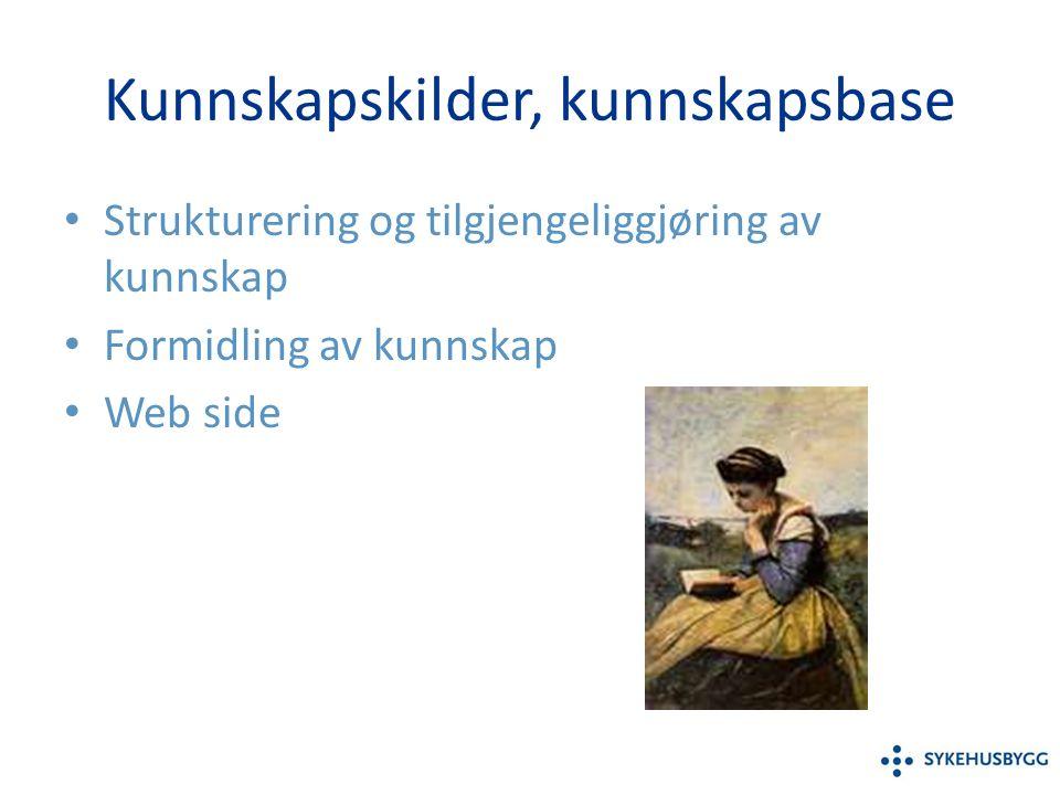 Kunnskapskilder, kunnskapsbase Strukturering og tilgjengeliggjøring av kunnskap Formidling av kunnskap Web side