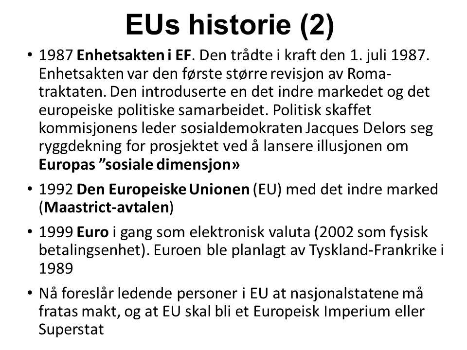 EUs historie (2) 1987 Enhetsakten i EF. Den trådte i kraft den 1.