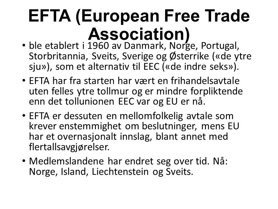 EFTA (European Free Trade Association) ble etablert i 1960 av Danmark, Norge, Portugal, Storbritannia, Sveits, Sverige og Østerrike («de ytre sju»), som et alternativ til EEC («de indre seks»).