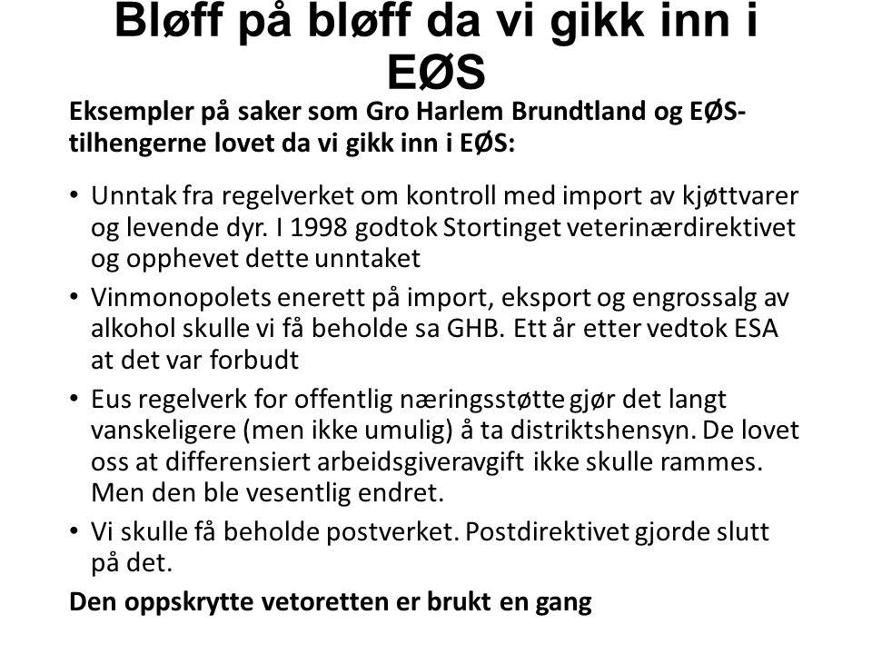 Bløff på bløff da vi gikk inn i EØS Eksempler på saker som Gro Harlem Brundtland og EØS- tilhengerne lovet da vi gikk inn i EØS: Unntak fra regelverket om kontroll med import av kjøttvarer og levende dyr.