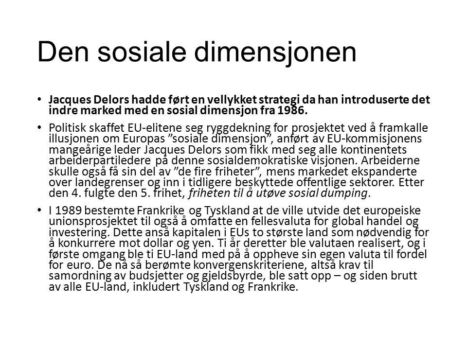 Den sosiale dimensjonen Jacques Delors hadde ført en vellykket strategi da han introduserte det indre marked med en sosial dimensjon fra 1986.