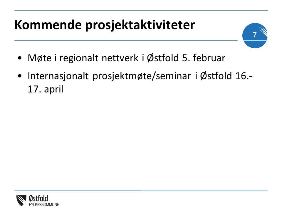 Kommende prosjektaktiviteter Møte i regionalt nettverk i Østfold 5. februar Internasjonalt prosjektmøte/seminar i Østfold 16.- 17. april 7