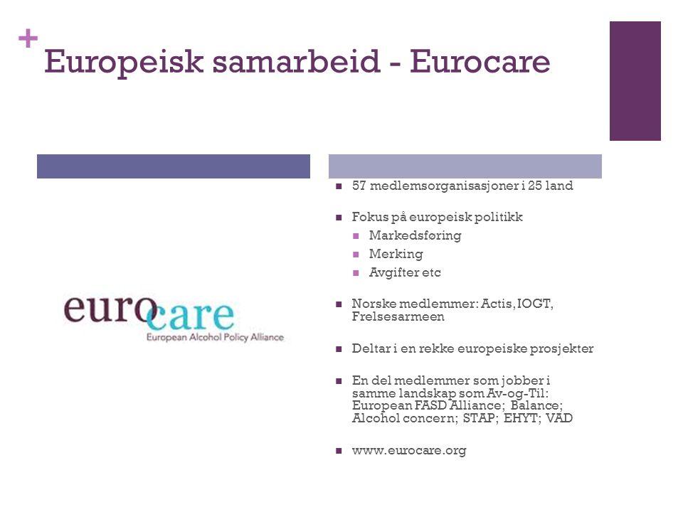 + Europeisk samarbeid - Eurocare 57 medlemsorganisasjoner i 25 land Fokus på europeisk politikk Markedsføring Merking Avgifter etc Norske medlemmer: Actis, IOGT, Frelsesarmeen Deltar i en rekke europeiske prosjekter En del medlemmer som jobber i samme landskap som Av-og-Til: European FASD Alliance; Balance; Alcohol concern; STAP; EHYT; VAD www.eurocare.org