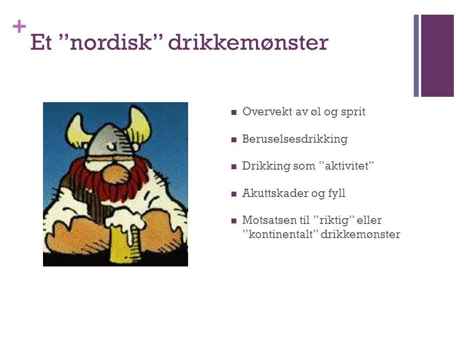 + Et nordisk drikkemønster Overvekt av øl og sprit Beruselsesdrikking Drikking som aktivitet Akuttskader og fyll Motsatsen til riktig eller kontinentalt drikkemønster