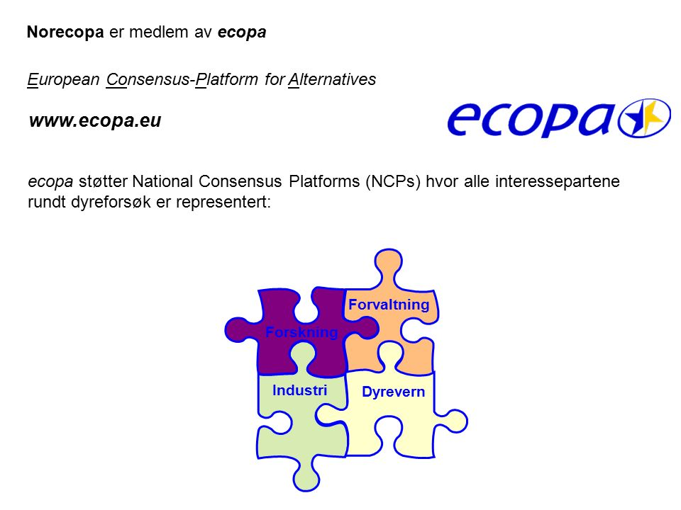 Industri Forvaltning Forskning Dyrevern www.ecopa.eu European Consensus-Platform for Alternatives ecopa støtter National Consensus Platforms (NCPs) hv
