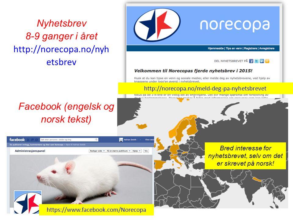 Nyhetsbrev 8-9 ganger i året http://norecopa.no/nyh etsbrev Bred interesse for nyhetsbrevet, selv om det er skrevet på norsk.