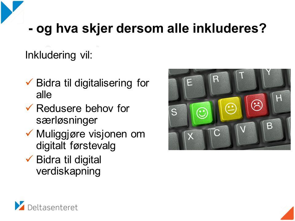 Inkludering vil: Bidra til digitalisering for alle Redusere behov for særløsninger Muliggjøre visjonen om digitalt førstevalg Bidra til digital verdis