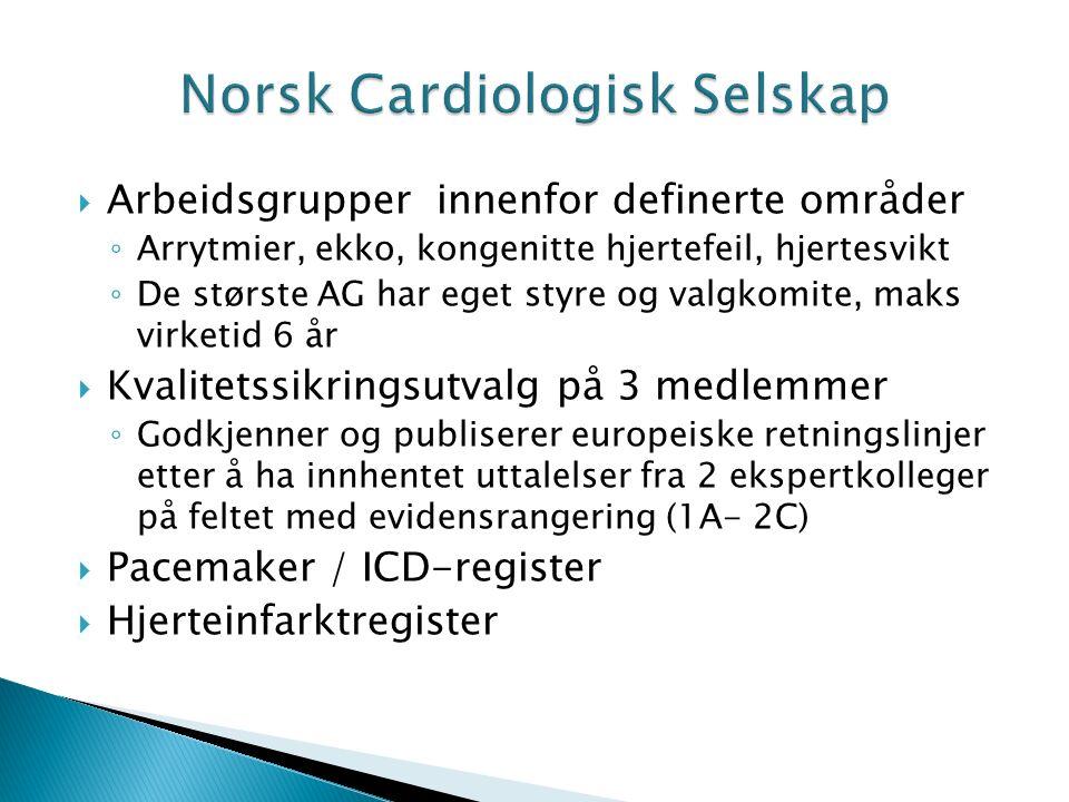  Arbeidsgrupper innenfor definerte områder ◦ Arrytmier, ekko, kongenitte hjertefeil, hjertesvikt ◦ De største AG har eget styre og valgkomite, maks virketid 6 år  Kvalitetssikringsutvalg på 3 medlemmer ◦ Godkjenner og publiserer europeiske retningslinjer etter å ha innhentet uttalelser fra 2 ekspertkolleger på feltet med evidensrangering (1A- 2C)  Pacemaker / ICD-register  Hjerteinfarktregister