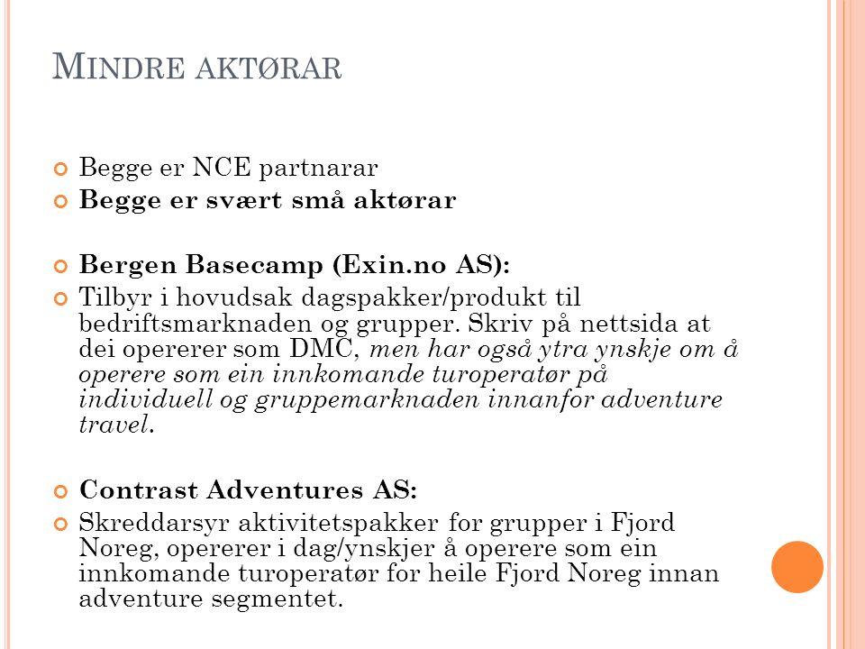 M INDRE AKTØRAR Begge er NCE partnarar Begge er svært små aktørar Bergen Basecamp (Exin.no AS): Tilbyr i hovudsak dagspakker/produkt til bedriftsmarkn