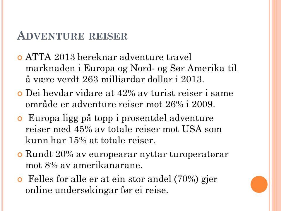 A DVENTURE REISER ATTA 2013 bereknar adventure travel marknaden i Europa og Nord- og Sør Amerika til å være verdt 263 milliardar dollar i 2013. Dei he