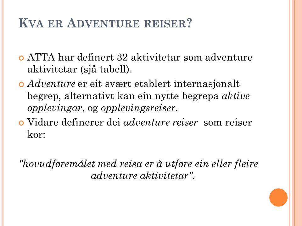 K VA ER A DVENTURE REISER ? ATTA har definert 32 aktivitetar som adventure aktivitetar (sjå tabell). Adventure er eit svært etablert internasjonalt be