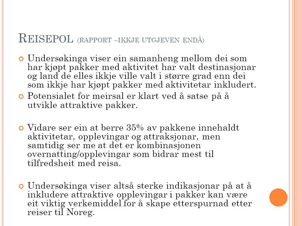 I NCOMING 2013 Prosjekt satt i gang i 2013 av Innovasjon Noreg NCE Tourism – Fjord Noreg, Nord Norsk Reiseliv AS og Virke, for å få meir kunnskap om norske incomingoperatørar.
