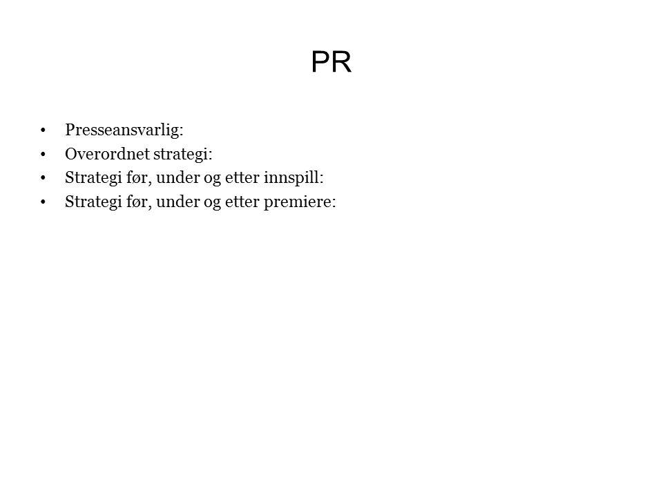 PR Presseansvarlig: Overordnet strategi: Strategi før, under og etter innspill: Strategi før, under og etter premiere: