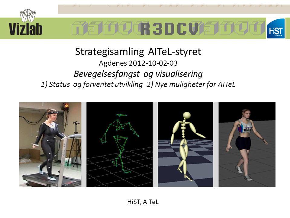 Strategisamling AITeL-styret Agdenes 2012-10-02-03 Bevegelsesfangst og visualisering 1) Status og forventet utvikling 2) Nye muligheter for AITeL HiST, AITeL