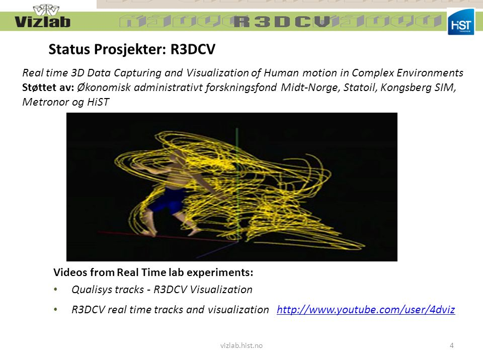 Videos from Real Time lab experiments: Qualisys tracks - R3DCV Visualization R3DCV real time tracks and visualization http://www.youtube.com/user/4dvi