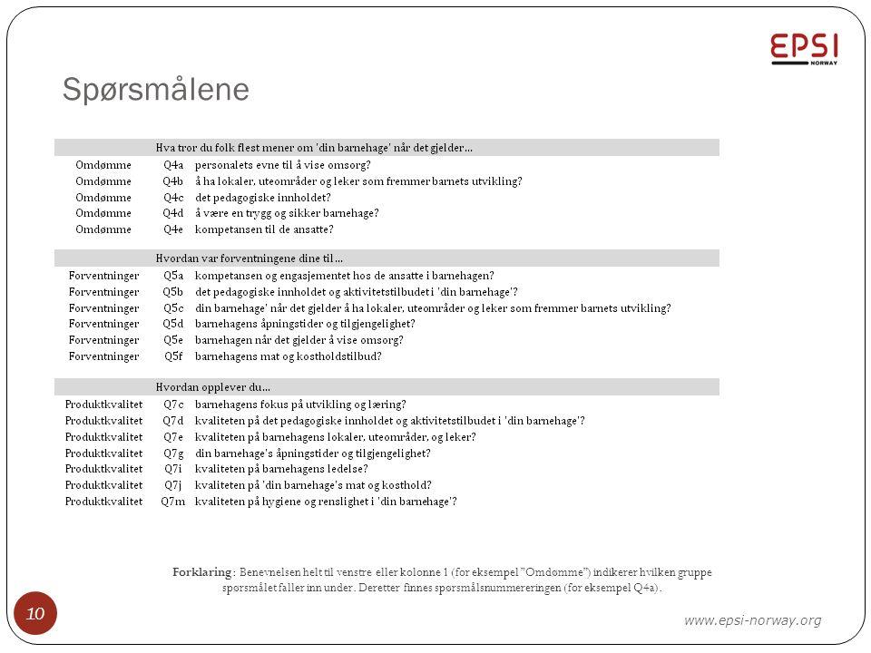 """Spørsmålene 10 www.epsi-norway.org Forklaring: Benevnelsen helt til venstre eller kolonne 1 (for eksempel """"Omdømme"""") indikerer hvilken gruppe spørsmål"""