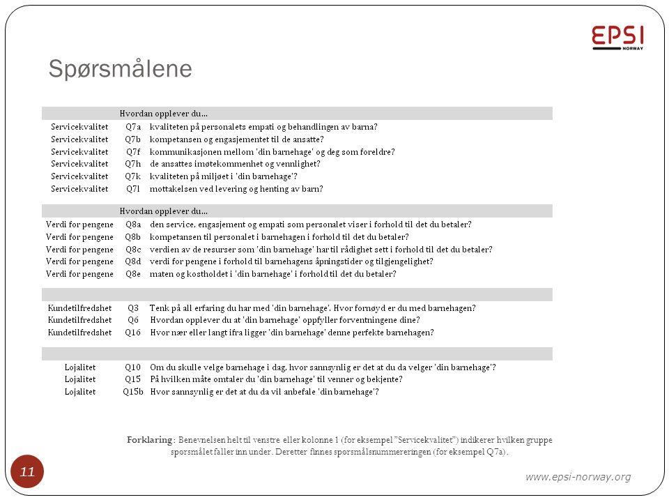 """Spørsmålene 11 www.epsi-norway.org Forklaring: Benevnelsen helt til venstre eller kolonne 1 (for eksempel """"Servicekvalitet"""") indikerer hvilken gruppe"""