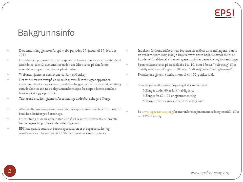 Bakgrunnsinfo 2 Datainnsamling gjennomført på web i perioden 27. januar til 17. februar 2014 Foreldre kan potensielt motta 3 e-poster – hvorav den før