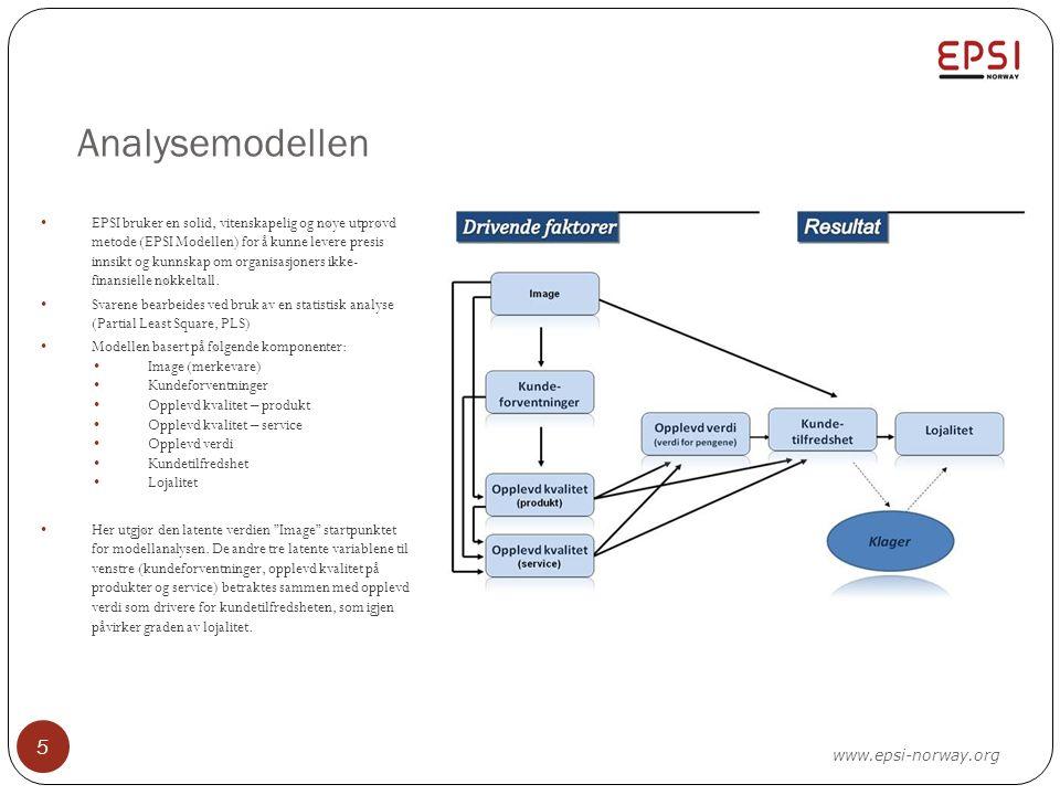 Analysemodellen 5 EPSI bruker en solid, vitenskapelig og nøye utprøvd metode (EPSI Modellen) for å kunne levere presis innsikt og kunnskap om organisasjoners ikke- finansielle nøkkeltall.