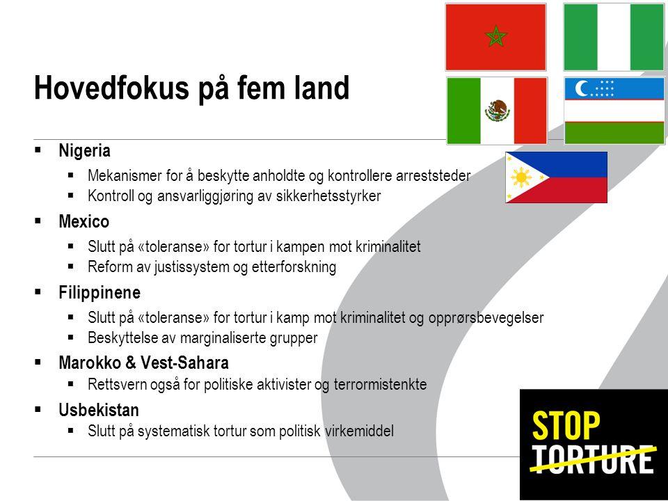 Hovedfokus på fem land  Nigeria  Mekanismer for å beskytte anholdte og kontrollere arreststeder  Kontroll og ansvarliggjøring av sikkerhetsstyrker  Mexico  Slutt på «toleranse» for tortur i kampen mot kriminalitet  Reform av justissystem og etterforskning  Filippinene  Slutt på «toleranse» for tortur i kamp mot kriminalitet og opprørsbevegelser  Beskyttelse av marginaliserte grupper  Marokko & Vest-Sahara  Rettsvern også for politiske aktivister og terrormistenkte  Usbekistan  Slutt på systematisk tortur som politisk virkemiddel