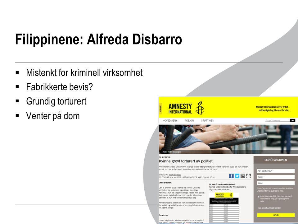 Filippinene: Alfreda Disbarro  Mistenkt for kriminell virksomhet  Fabrikkerte bevis.