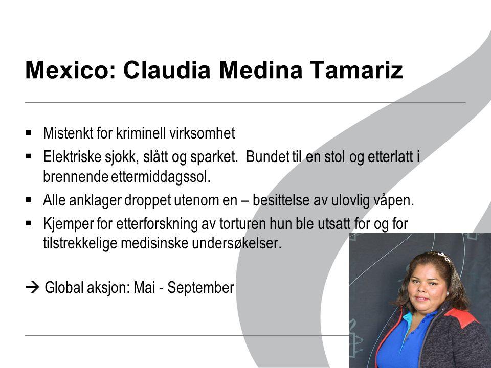 Mexico: Claudia Medina Tamariz  Mistenkt for kriminell virksomhet  Elektriske sjokk, slått og sparket.