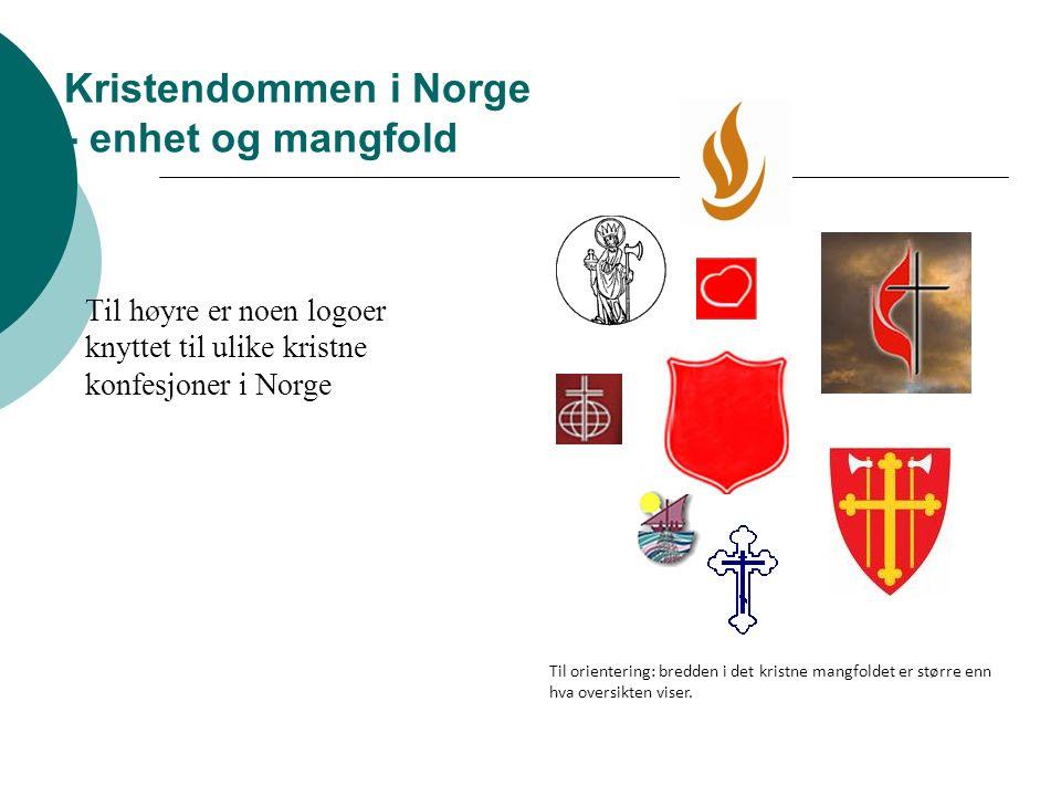 Kristendommen i Norge - enhet og mangfold Til høyre er noen logoer knyttet til ulike kristne konfesjoner i Norge Til orientering: bredden i det kristne mangfoldet er større enn hva oversikten viser.