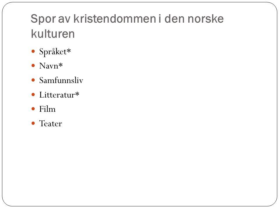 Spor av kristendommen i den norske kulturen Språket* Navn* Samfunnsliv Litteratur* Film Teater