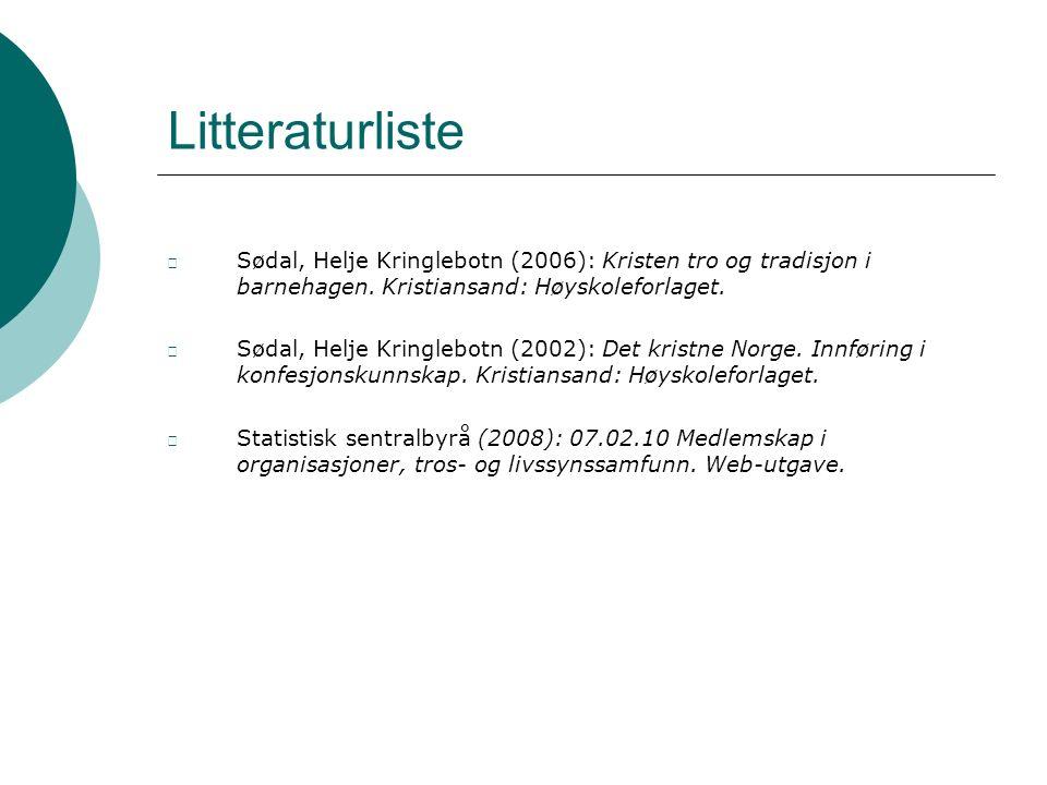 Litteraturliste Sødal, Helje Kringlebotn (2006): Kristen tro og tradisjon i barnehagen.