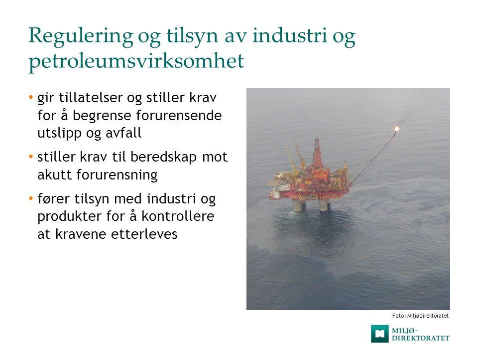 Regulering og tilsyn av industri og petroleumsvirksomhet gir tillatelser og stiller krav for å begrense forurensende utslipp og avfall stiller krav ti