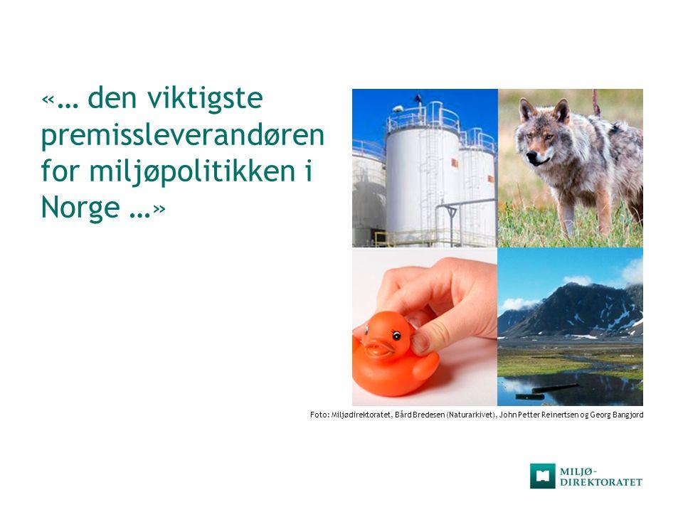 «… den viktigste premissleverandøren for miljøpolitikken i Norge …» Foto: Miljødirektoratet, Bård Bredesen (Naturarkivet), John Petter Reinertsen og G