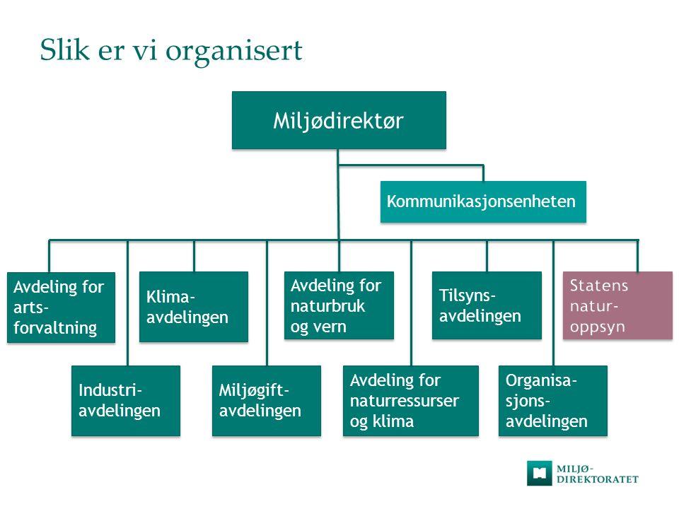 Slik er vi organisert Miljødirektør Avdeling for arts- forvaltning Avdeling for arts- forvaltning Industri- avdelingen Industri- avdelingen Klima- avd