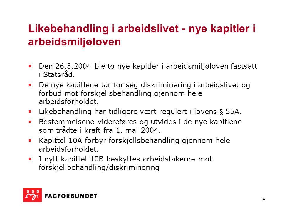 14 Likebehandling i arbeidslivet - nye kapitler i arbeidsmiljøloven  Den 26.3.2004 ble to nye kapitler i arbeidsmiljøloven fastsatt i Statsråd.