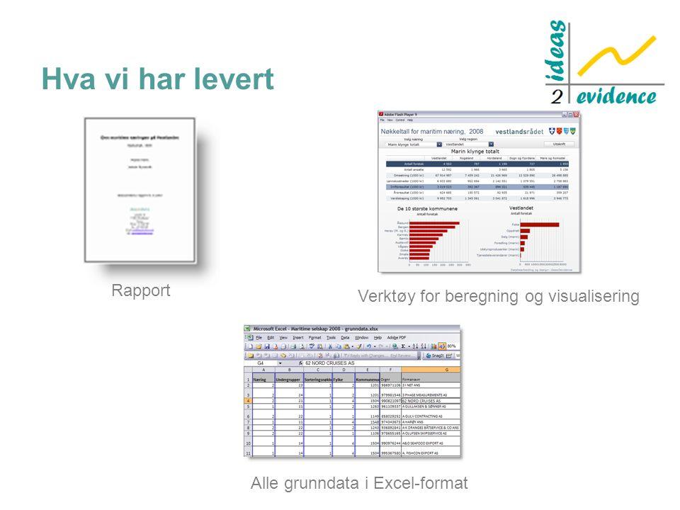 Hva vi har levert Rapport Alle grunndata i Excel-format Verktøy for beregning og visualisering