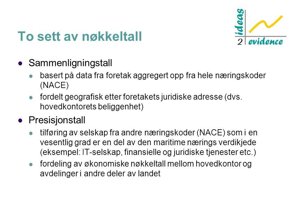 To sett av nøkkeltall Sammenligningstall basert på data fra foretak aggregert opp fra hele næringskoder (NACE) fordelt geografisk etter foretakets juridiske adresse (dvs.