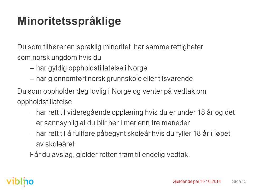 Gjeldende per 15.10.2014Side 45 Minoritetsspråklige Du som tilhører en språklig minoritet, har samme rettigheter som norsk ungdom hvis du –har gyldig