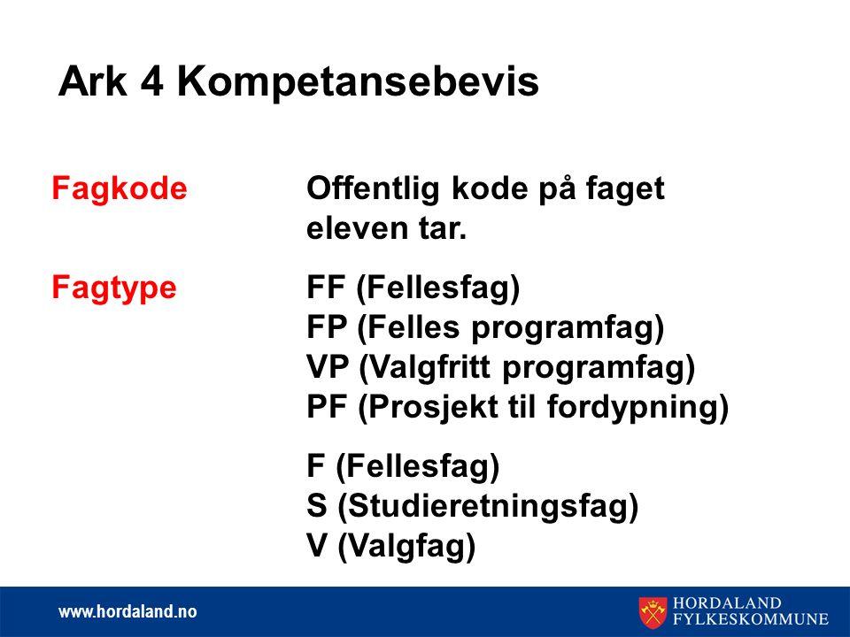 www.hordaland.no Ark 4 Kompetansebevis Fagkode Offentlig kode på faget eleven tar.