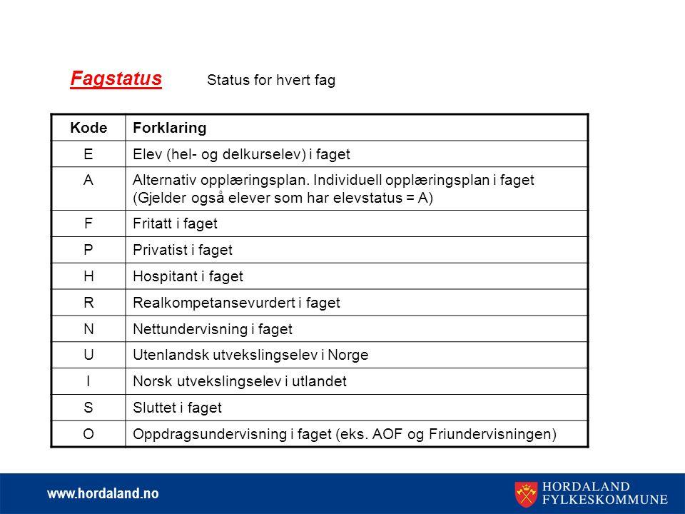 www.hordaland.no Fagstatus Status for hvert fag KodeForklaring EElev (hel- og delkurselev) i faget AAlternativ opplæringsplan.