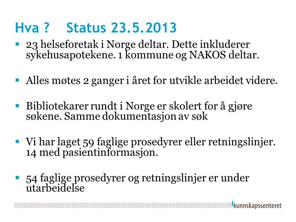 Hva ? Status 23.5.2013  23 helseforetak i Norge deltar. Dette inkluderer sykehusapotekene. 1 kommune og NAKOS deltar.  Alles møtes 2 ganger i året f