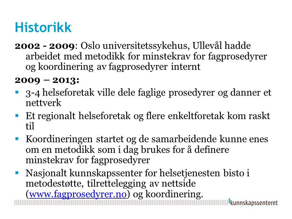 Historikk 2002 - 2009: Oslo universitetssykehus, Ullevål hadde arbeidet med metodikk for minstekrav for fagprosedyrer og koordinering av fagprosedyrer internt 2009 – 2013:  3-4 helseforetak ville dele faglige prosedyrer og danner et nettverk  Et regionalt helseforetak og flere enkeltforetak kom raskt til  Koordineringen startet og de samarbeidende kunne enes om en metodikk som i dag brukes for å definere minstekrav for fagprosedyrer  Nasjonalt kunnskapssenter for helsetjenesten bisto i metodestøtte, tilrettelegging av nettside (www.fagprosedyrer.no) og koordinering.www.fagprosedyrer.no