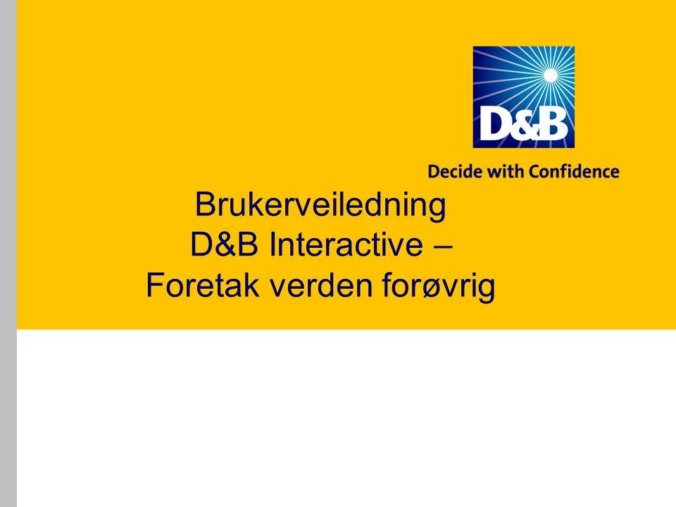 Brukerveiledning D&B Interactive – Foretak verden forøvrig