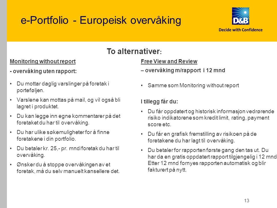 e-Portfolio - Europeisk overvåking Monitoring without report - overvåking uten rapport: Du mottar daglig varslinger på foretak i porteføljen.