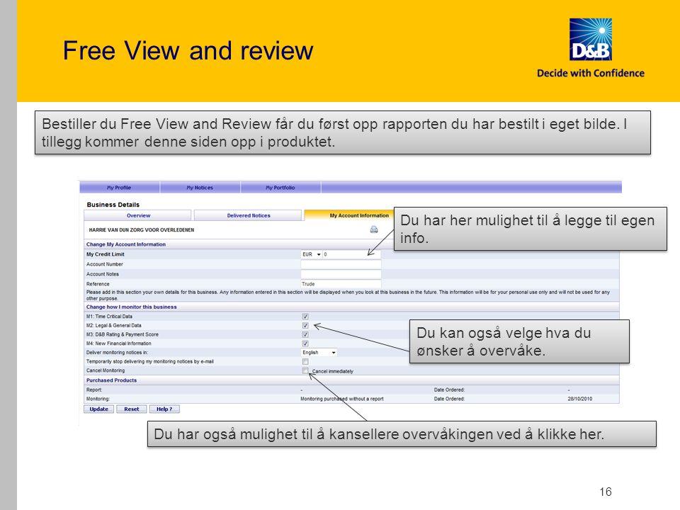 Free View and review 16 Du har her mulighet til å legge til egen info.