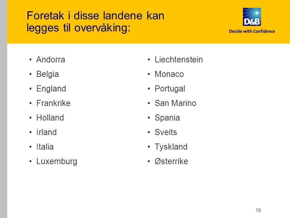 18 Foretak i disse landene kan legges til overvåking: Andorra Belgia England Frankrike Holland Irland Italia Luxemburg Liechtenstein Monaco Portugal San Marino Spania Sveits Tyskland Østerrike