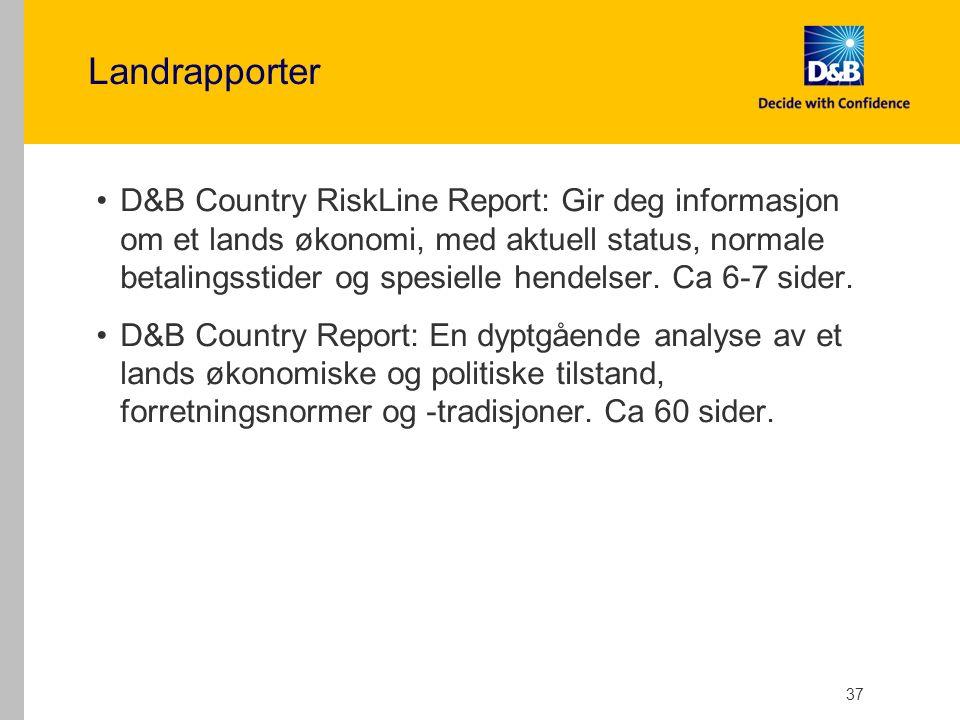 Landrapporter D&B Country RiskLine Report: Gir deg informasjon om et lands økonomi, med aktuell status, normale betalingsstider og spesielle hendelser.