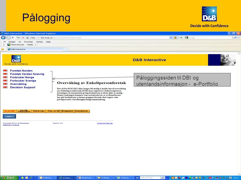 Pålogging 5 Påloggingssiden til DBI og utenlandsinformasjon - e-Portfolio